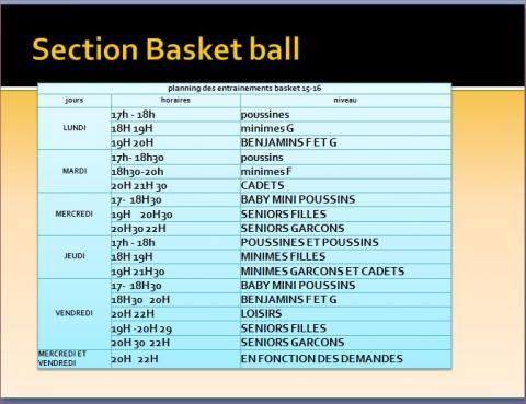 Planning des activités de la section basket
